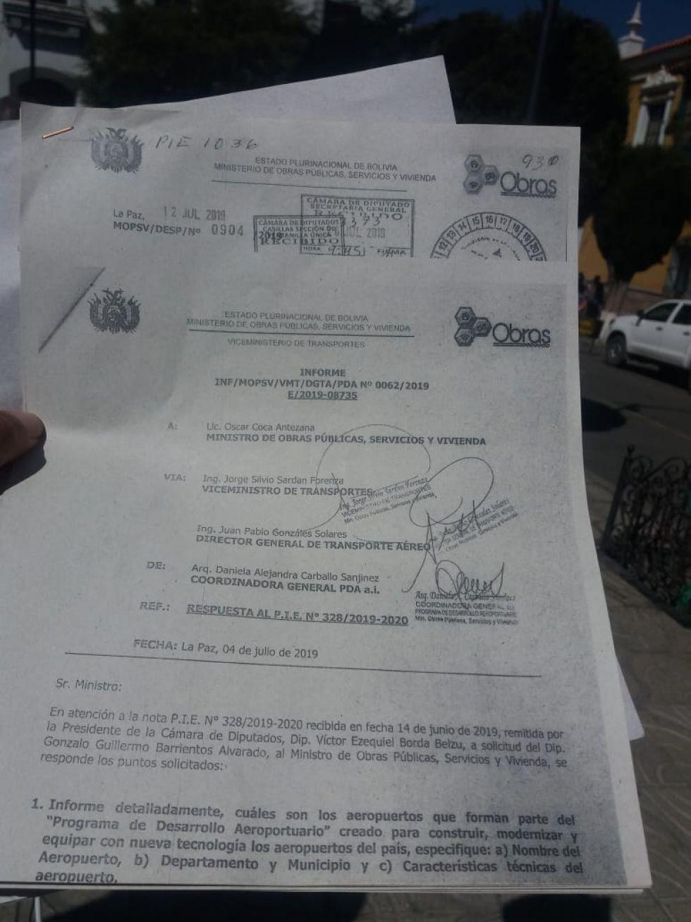 Documento presentado por Barrientos.