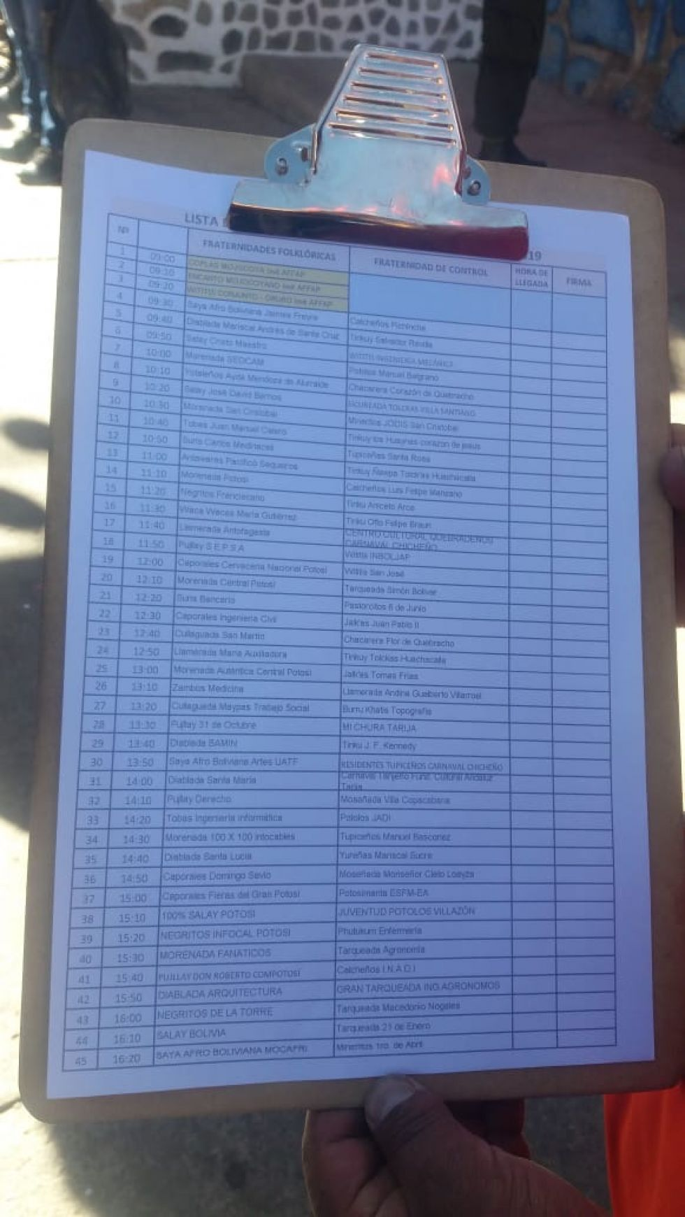 Lista de fraternidades.
