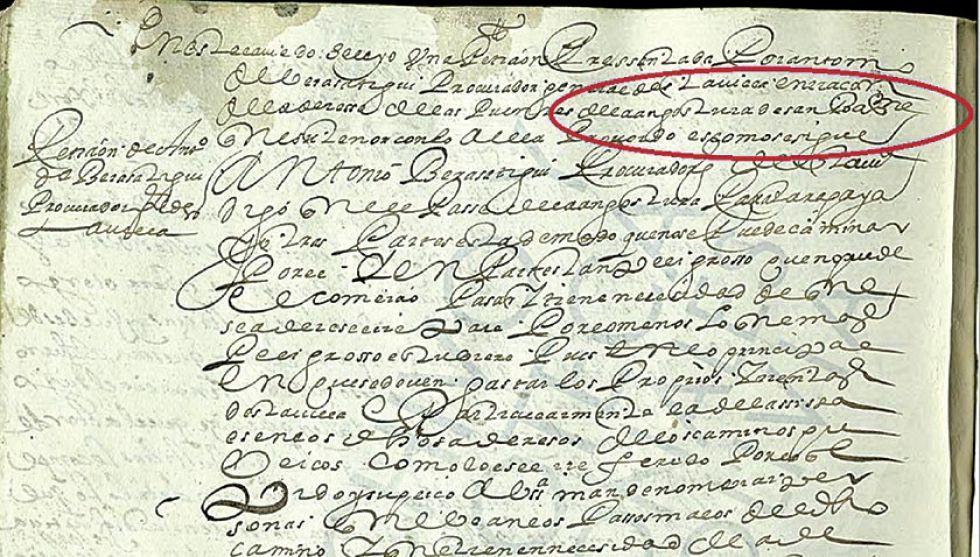 Documento del cabildo de Potosí en el que se menciona por primera vez a la Angostura de San Bartolomé.