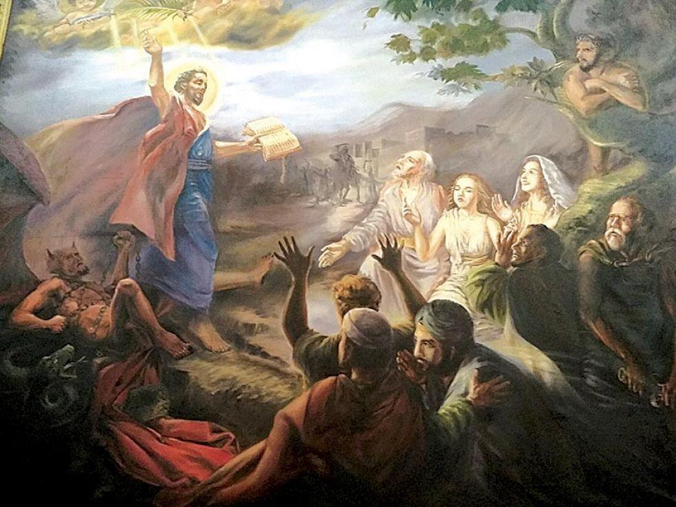 El triunfo de San Bartolomé sobre el diablo en un cuadro que está en el templo de San Bernardo.