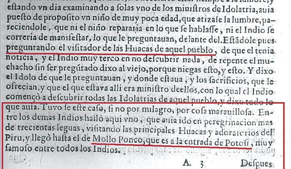 Fragmento del libro de Arriaga donde se lee sobre Mullu Punku.