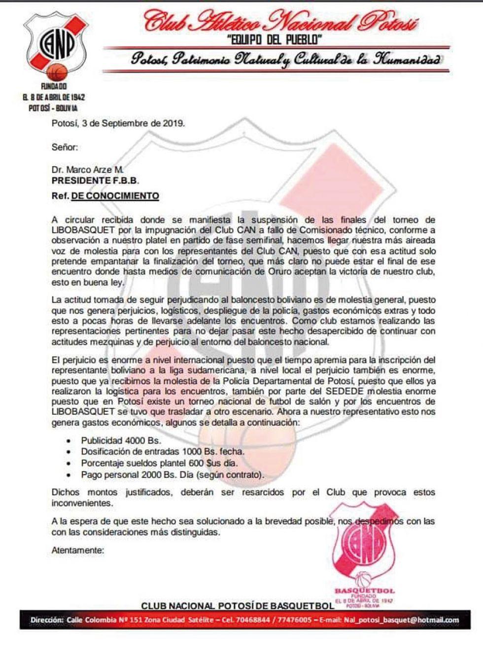 Clubes potosinos piden resarcimiento económico a la FBB
