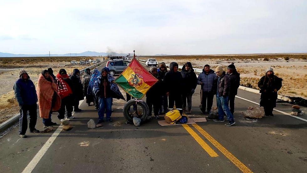 Gráficas del bloqueo en Uyuni. Fuente Radio Andina