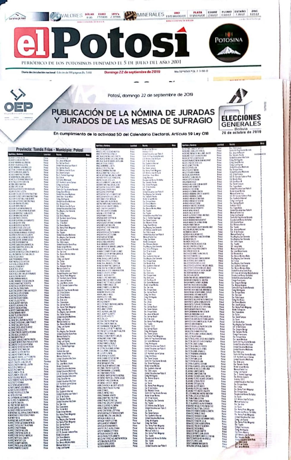El TED publica en El Potosí nómina de jurados electorales