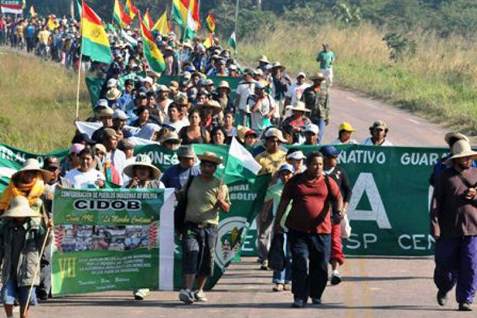 La X Marcha Indígena llega a la ciudad de Santa Cruz