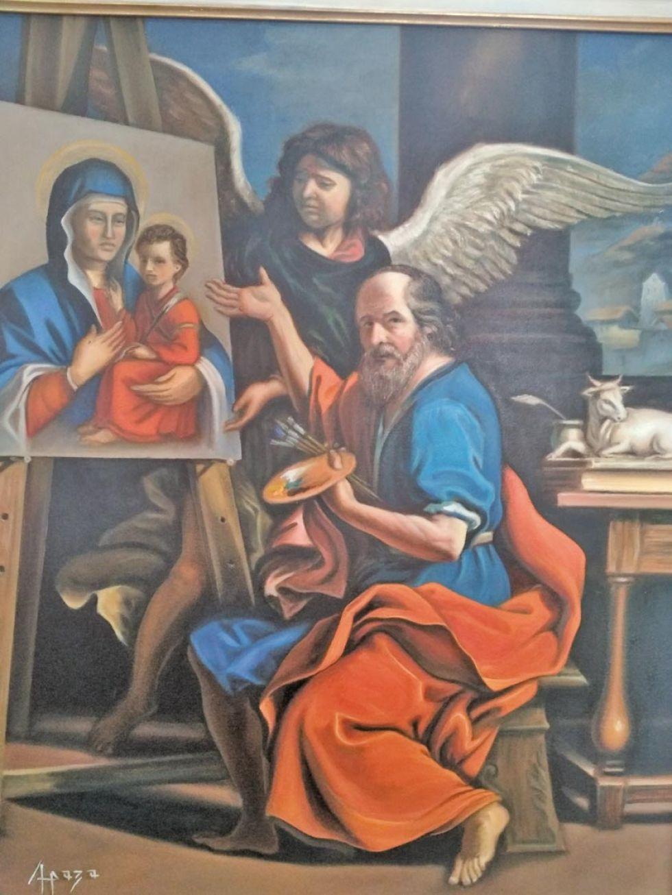 Muestran una pintura sobre San Lucas, el pintor de la virgen.