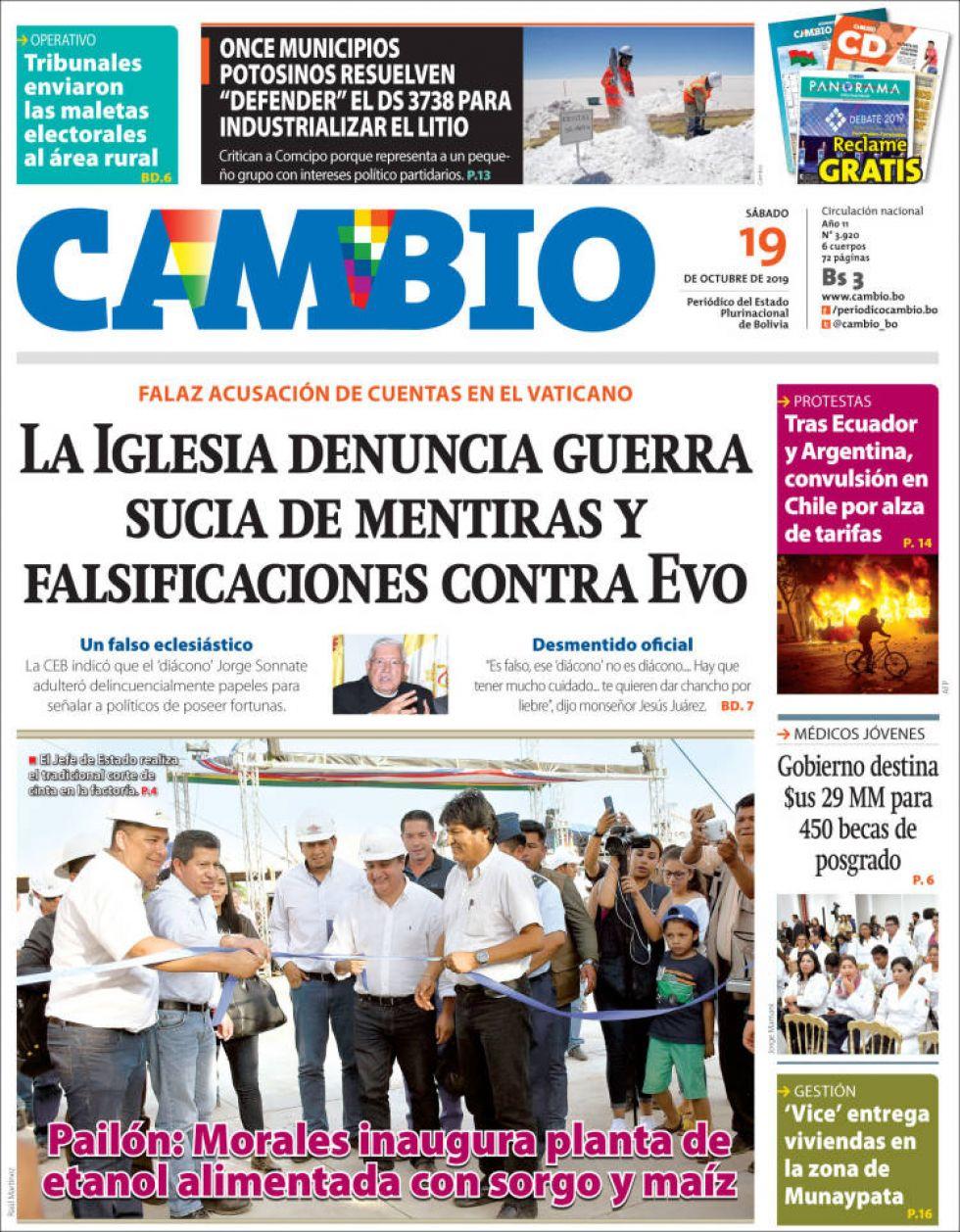Cambio, diario oficialista.
