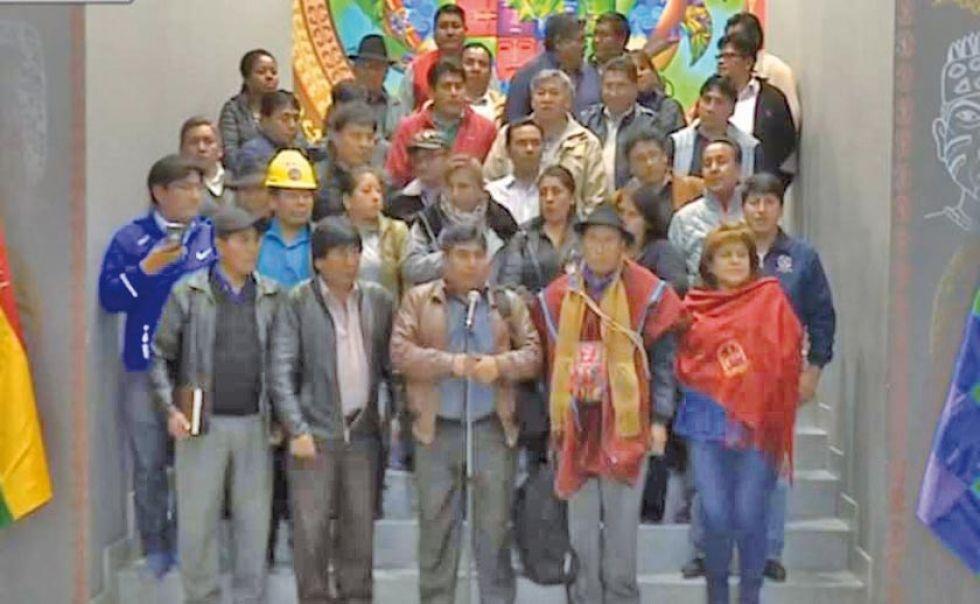 Los representantes de la Coordinadora Departamental por el Cambio en La Paz.