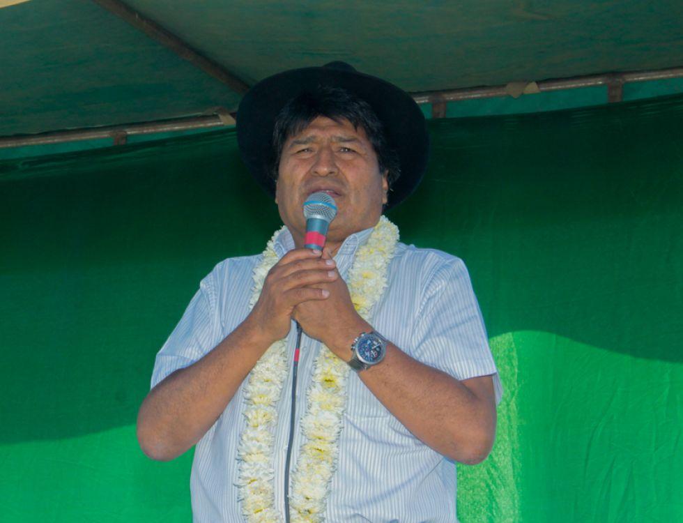 El presidente Evo Morales en un acto en Toco, Cochabamba.