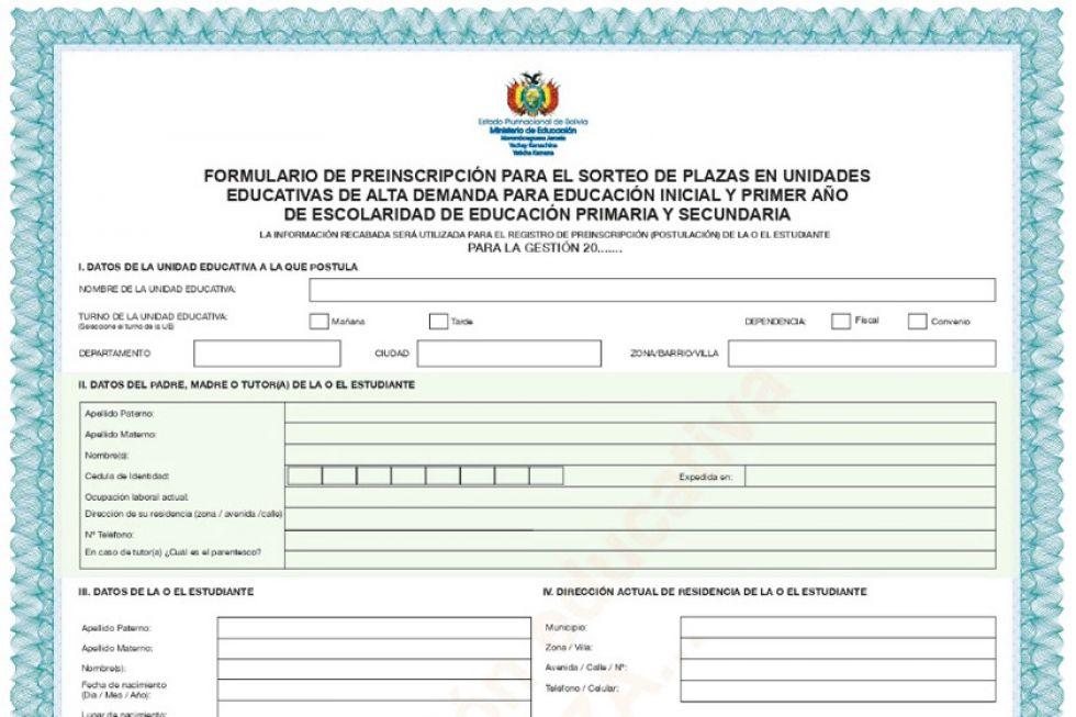 Los formularios para preinscripciones serán recibidos hasta el día 15