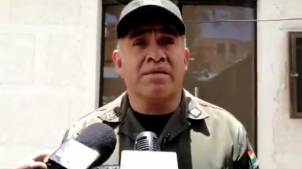 El comandante de la Policía de Oruro, Marco Polo. Foto: Captura de pantalla