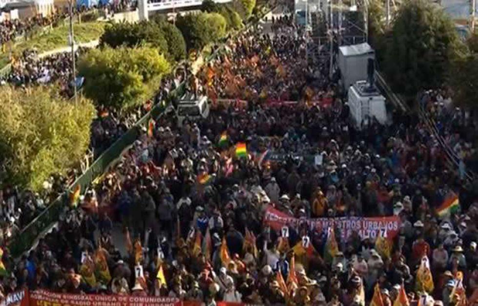 La concentración de los militantes del partido de Gobierno.