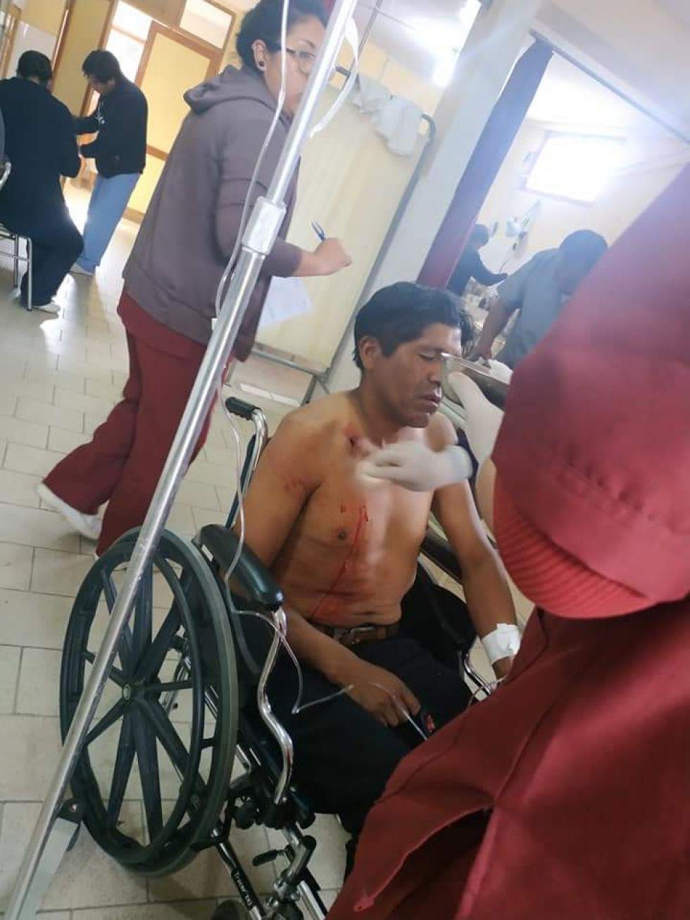 Los heridos en Challapata.
