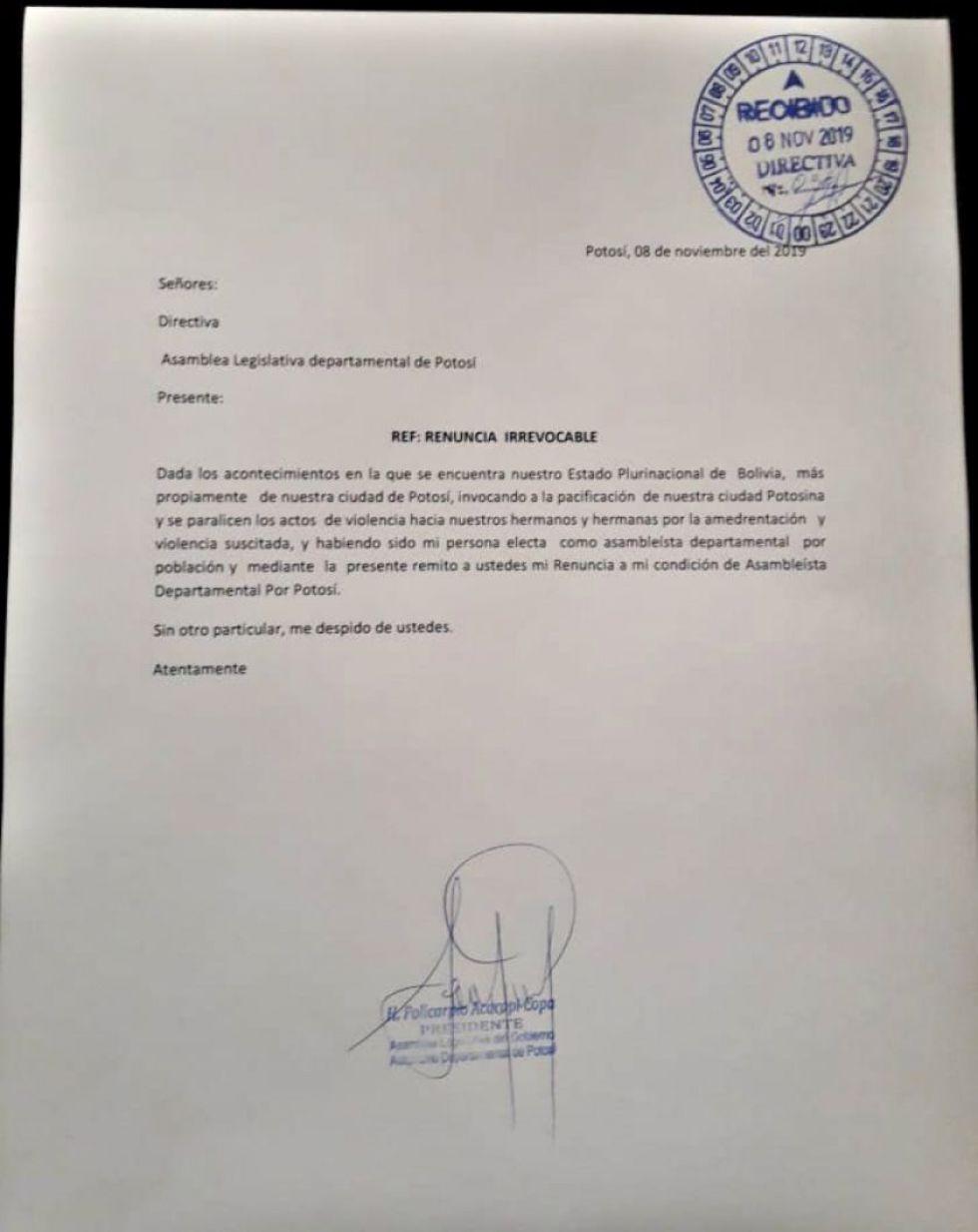 Policarpio Acarapi presenta su renuncia a la Asamblea