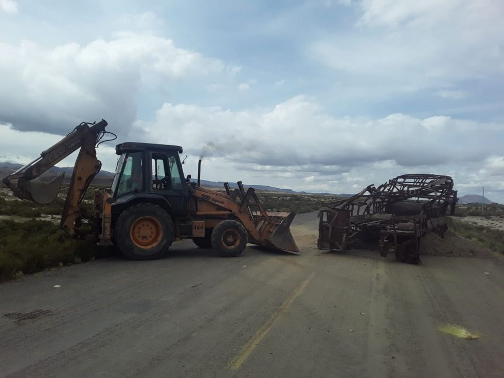Así estaba bloqueada la carretera.