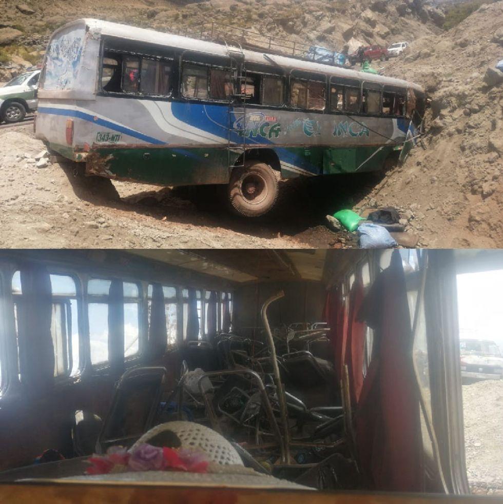 Así quedó el ómnibus pode fuera (arriba) y por dentro (abajo).