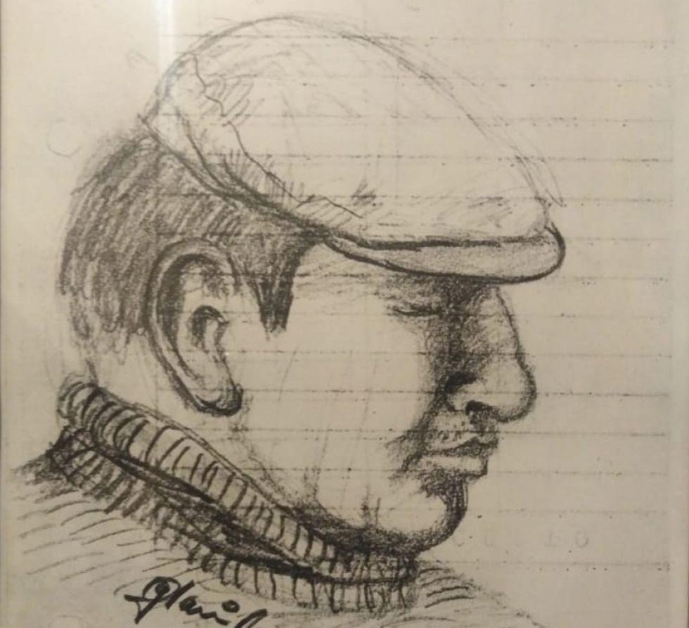 Retrato que le hicieron cuando era detenido político.
