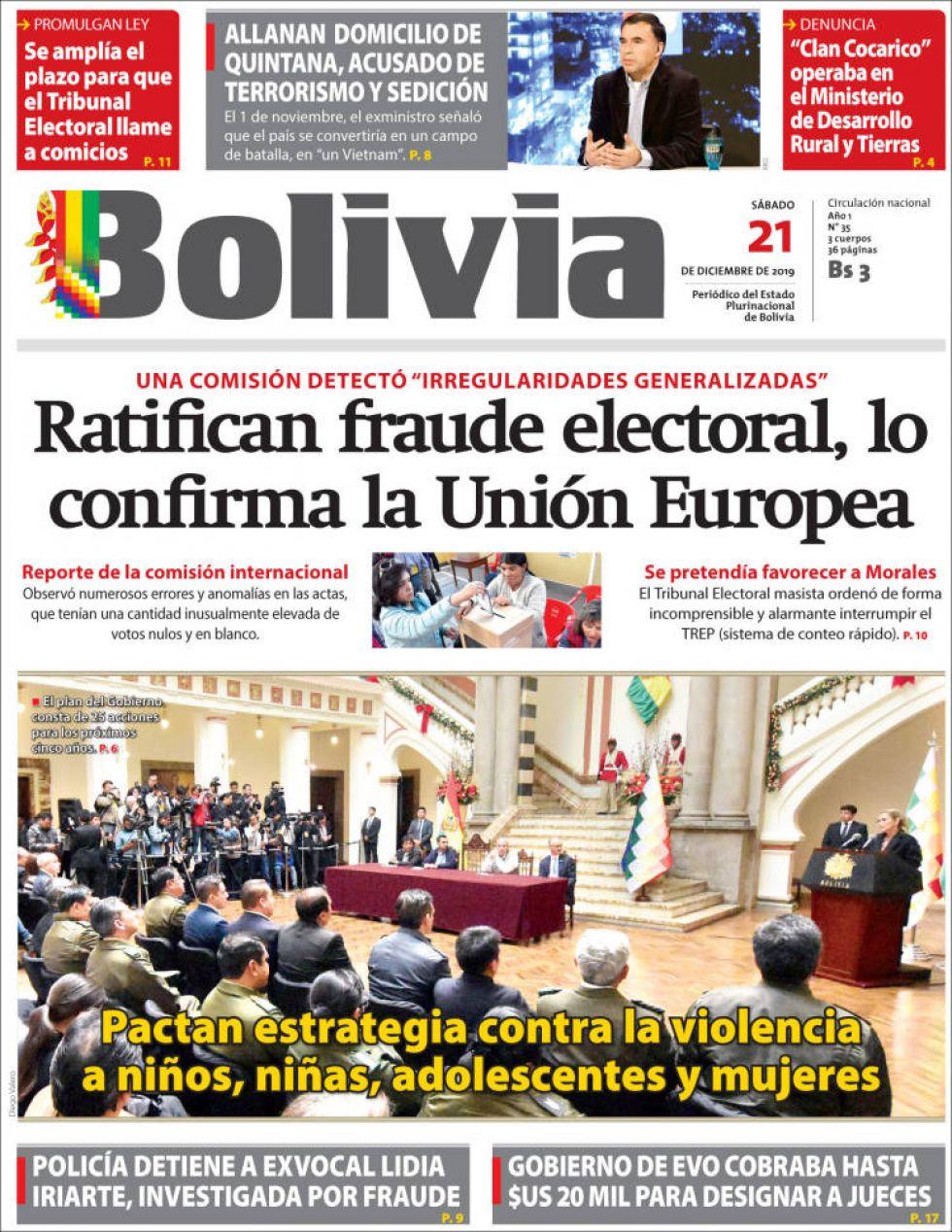 Bolivia, diario oficialista.