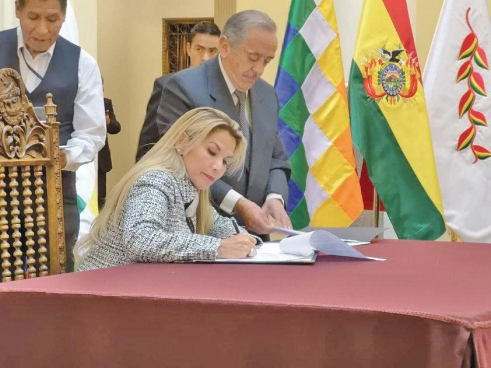 La presidenta transitoria Jeanine Áñez.