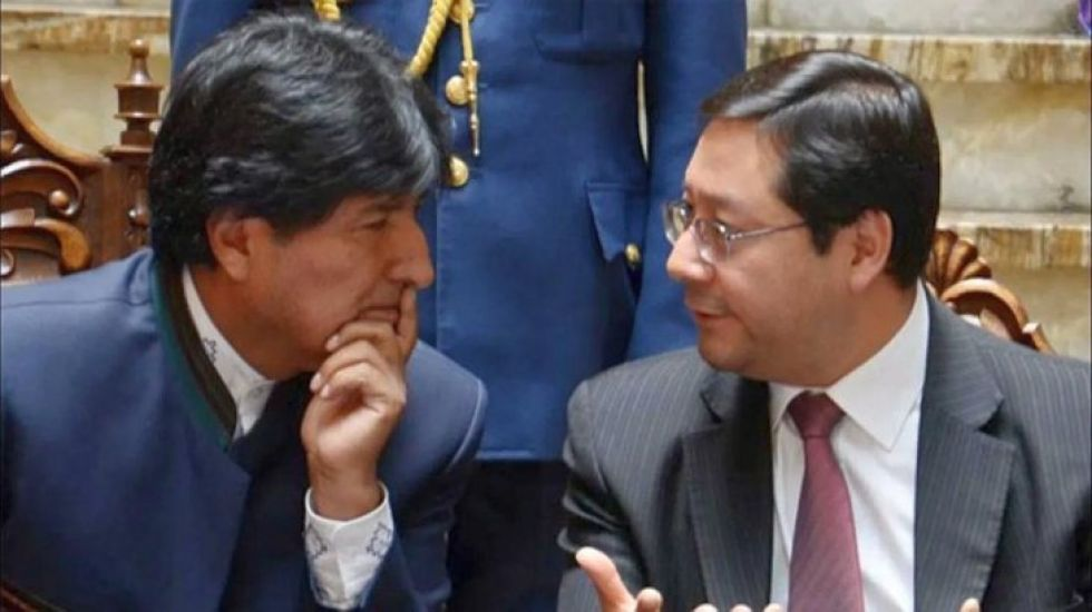 Evo Morales y el exministro de Economía, Luis Arce Catacora.