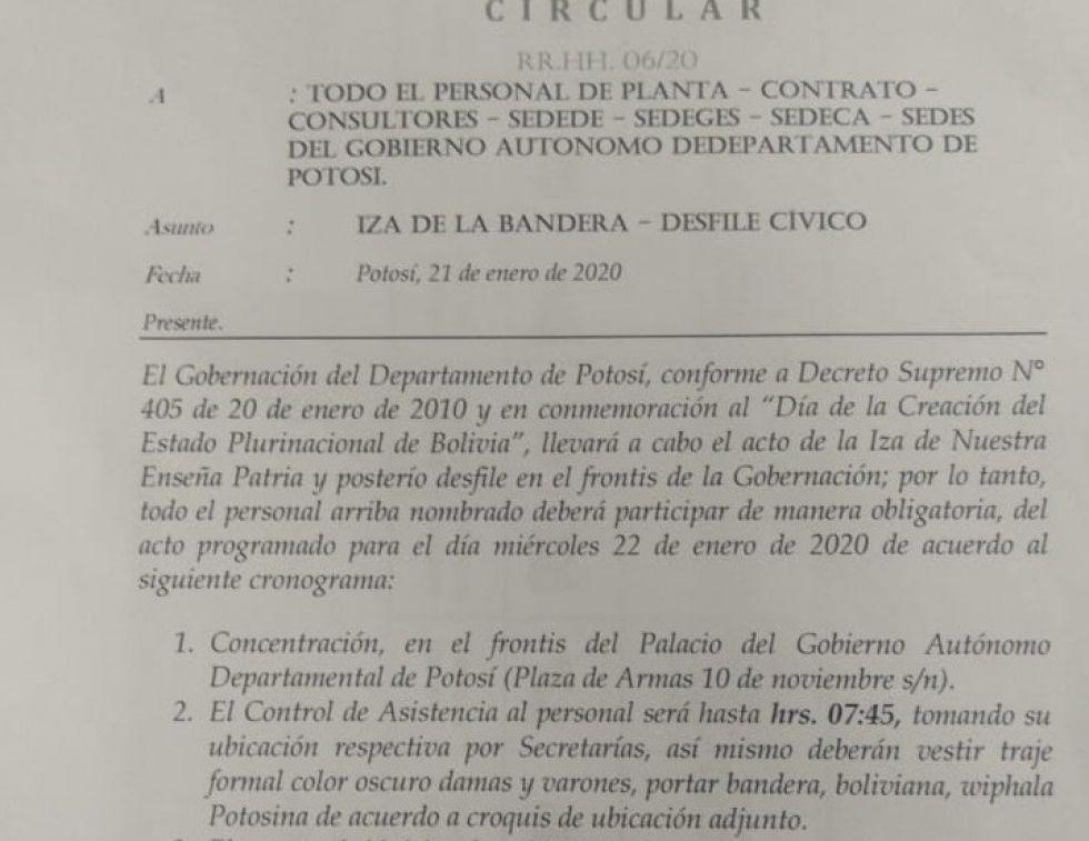 Gobernación de Potosí obligó a funcionarios a asistir a los actos del 22 de enero
