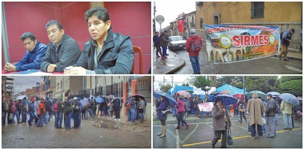 La vigilia de organizaciones sociales en afueras del Sedes.                               Los trabajadores en su medida de presión en la plaza 10 de Noviembre.