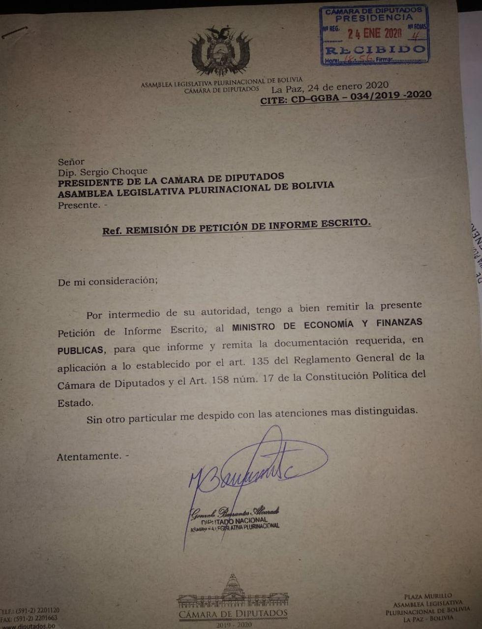 La petición de informe.