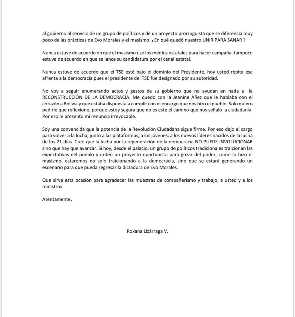 La carta de renuncia.