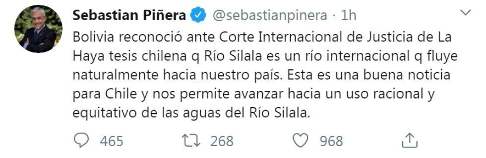El mensaje de Piñera.