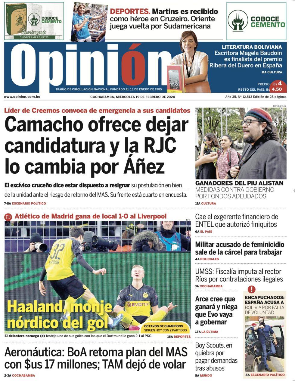Opinión, de Cochabamba.