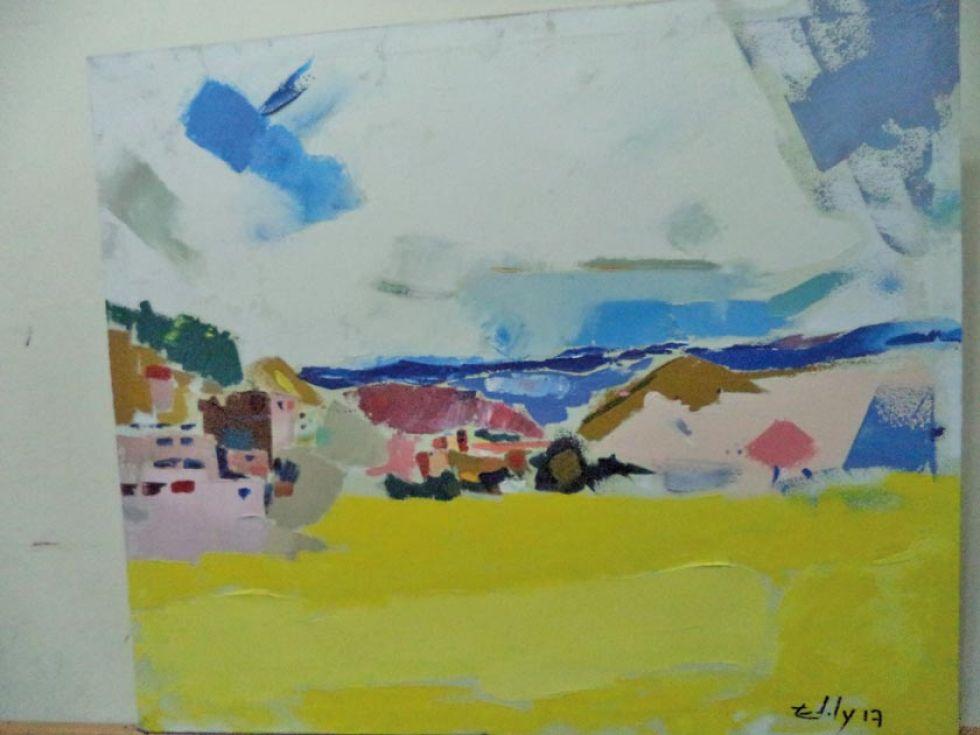 Los colores se destacan en la pintura de un paisaje.
