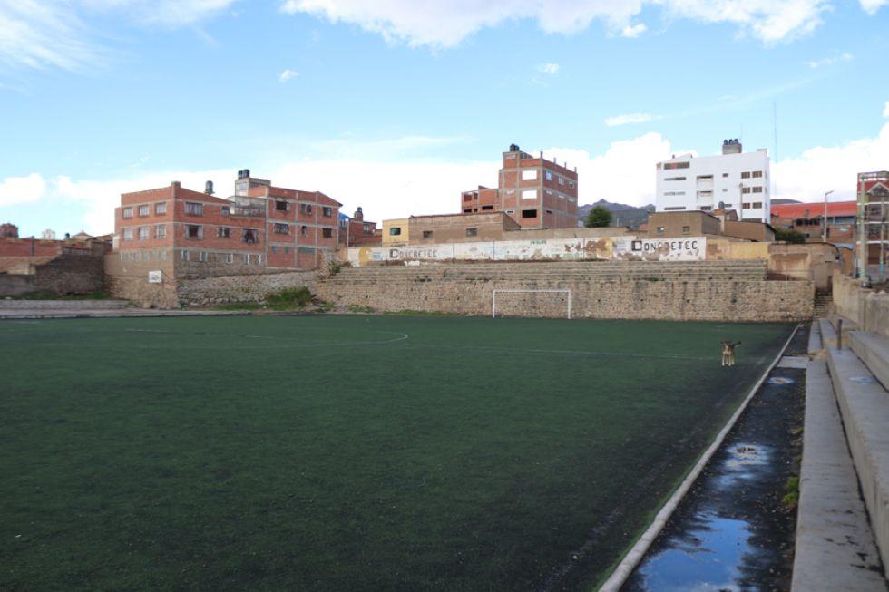 La cancha Santa Bárbara donde los jugadores entrenaban para los torneos locales.
