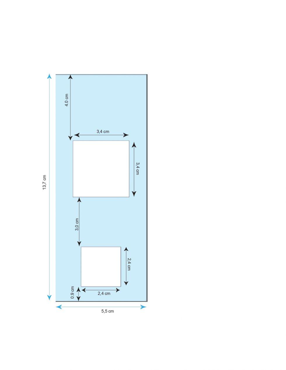 Medidas de las diferentes secciones de la papeleta. TED