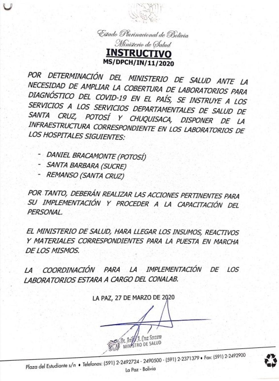 Gobierno instruye implementar laborario en el hospital Bracamonte
