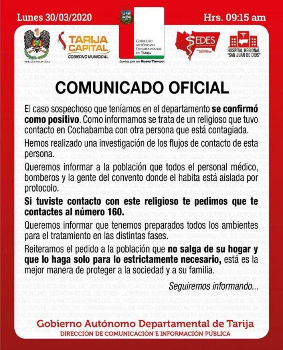 Tarija confirma primer caso de coronavirus
