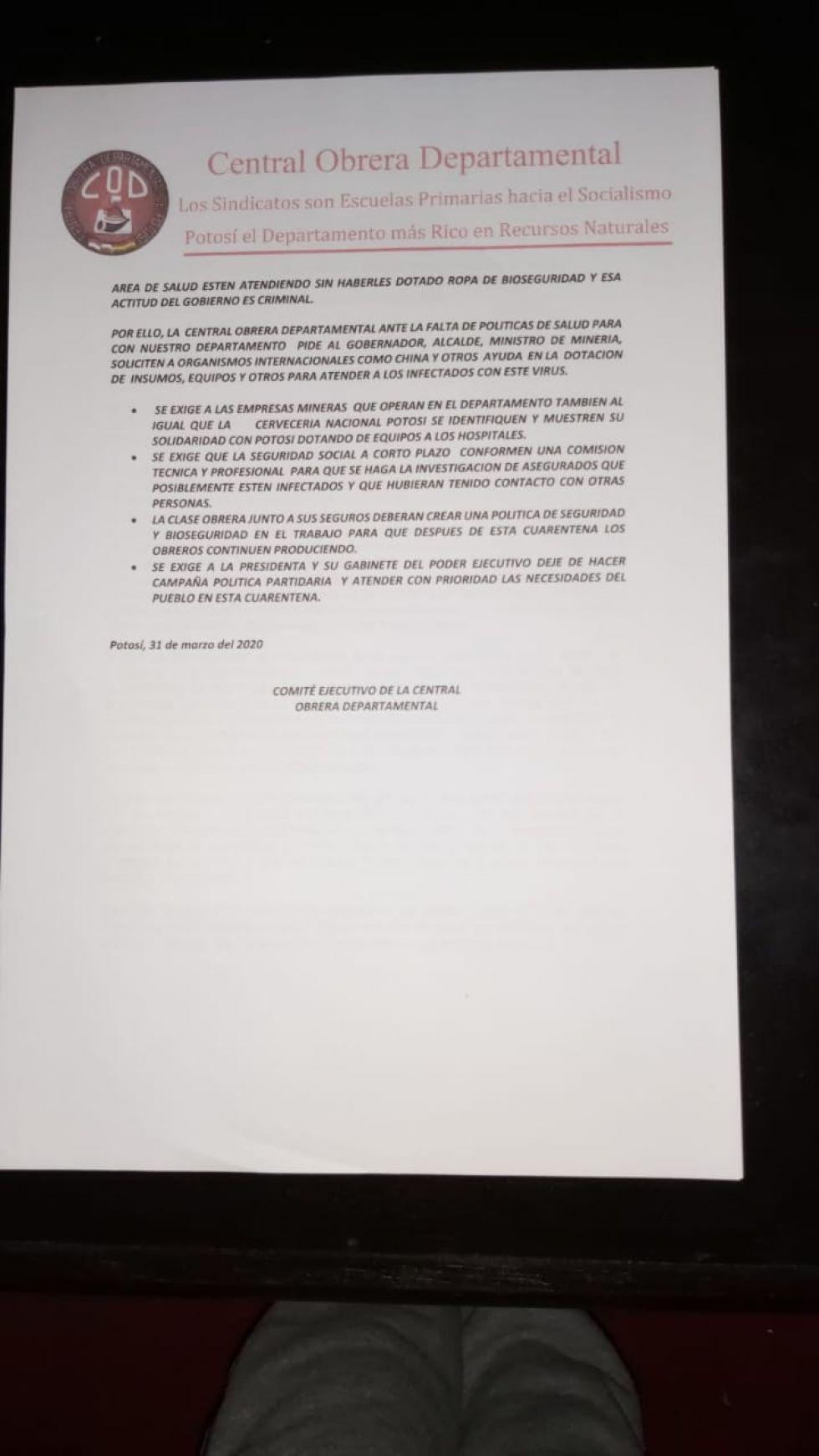 El documento enviado a las autoridades.