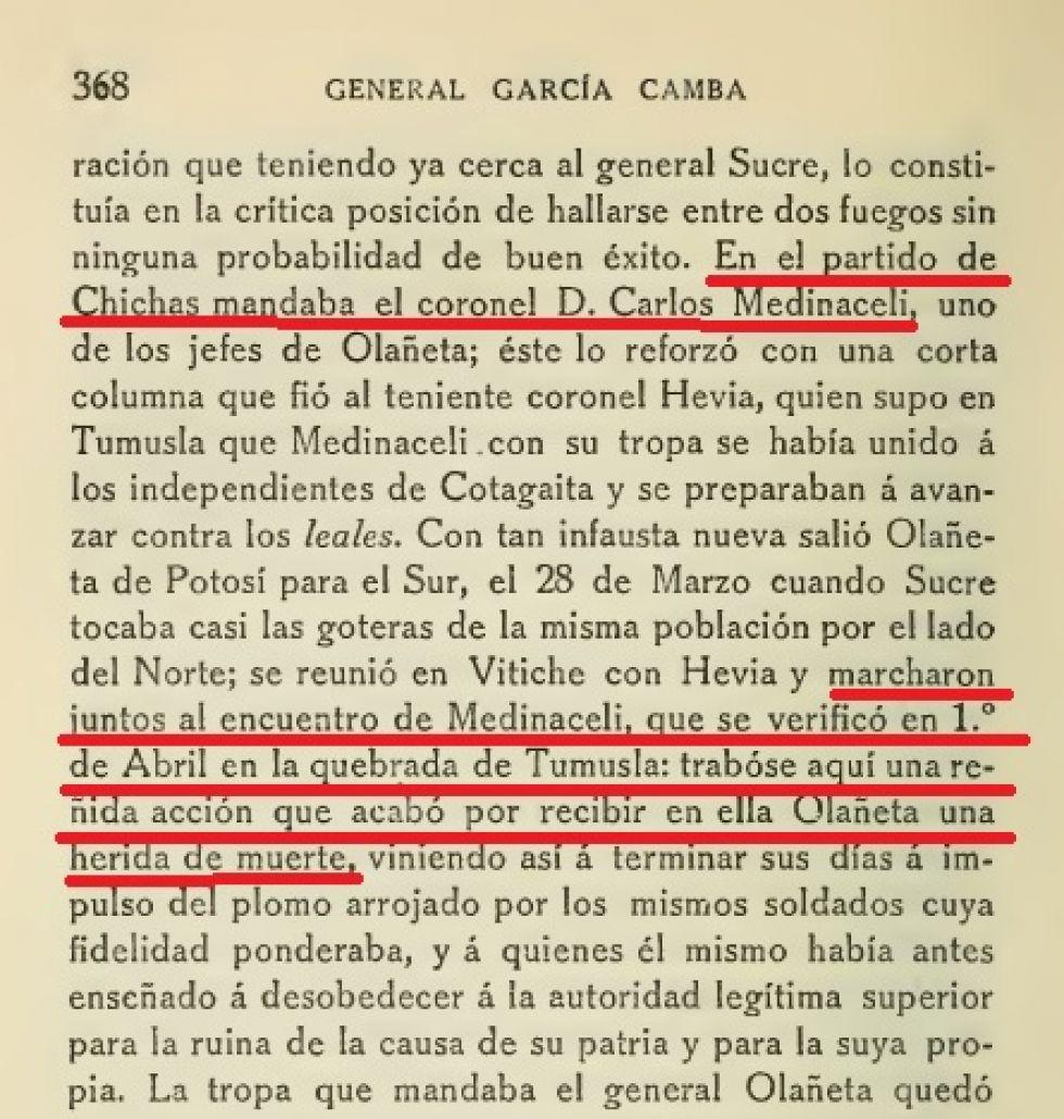 Página del libro de García Camba que hace referencia a la Batalla de Tumusla.