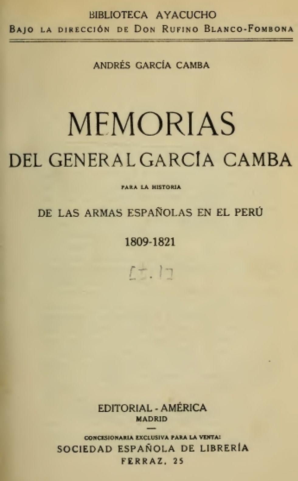 Portada de las Memorias del General García Camba.