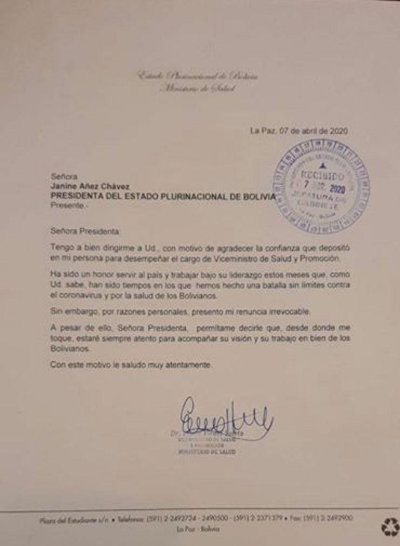 Carta de renuncia del médico Erwin Viruez al cargo de Viceministro de Salud y Promoción.