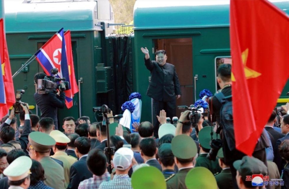 Imagen del 2 de marzo, cuando Kim Jong-un abordaba ese tren.