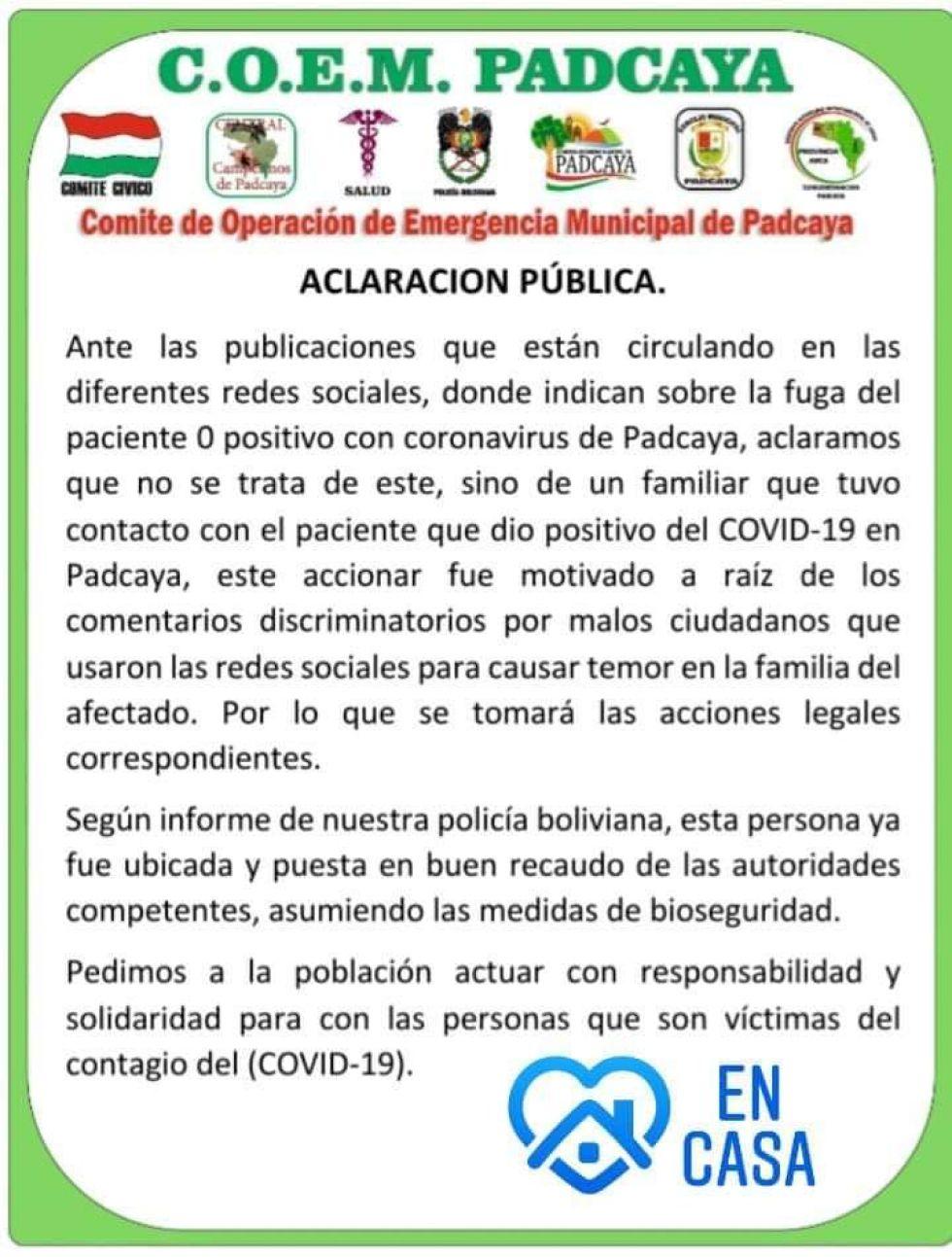 El comunicado del COEM Padcaya.
