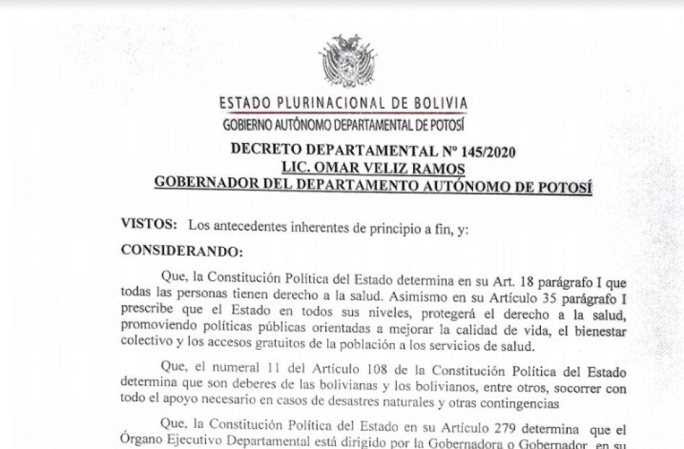 Lea el decreto departamental de la cuarentena condicionada en Potosí