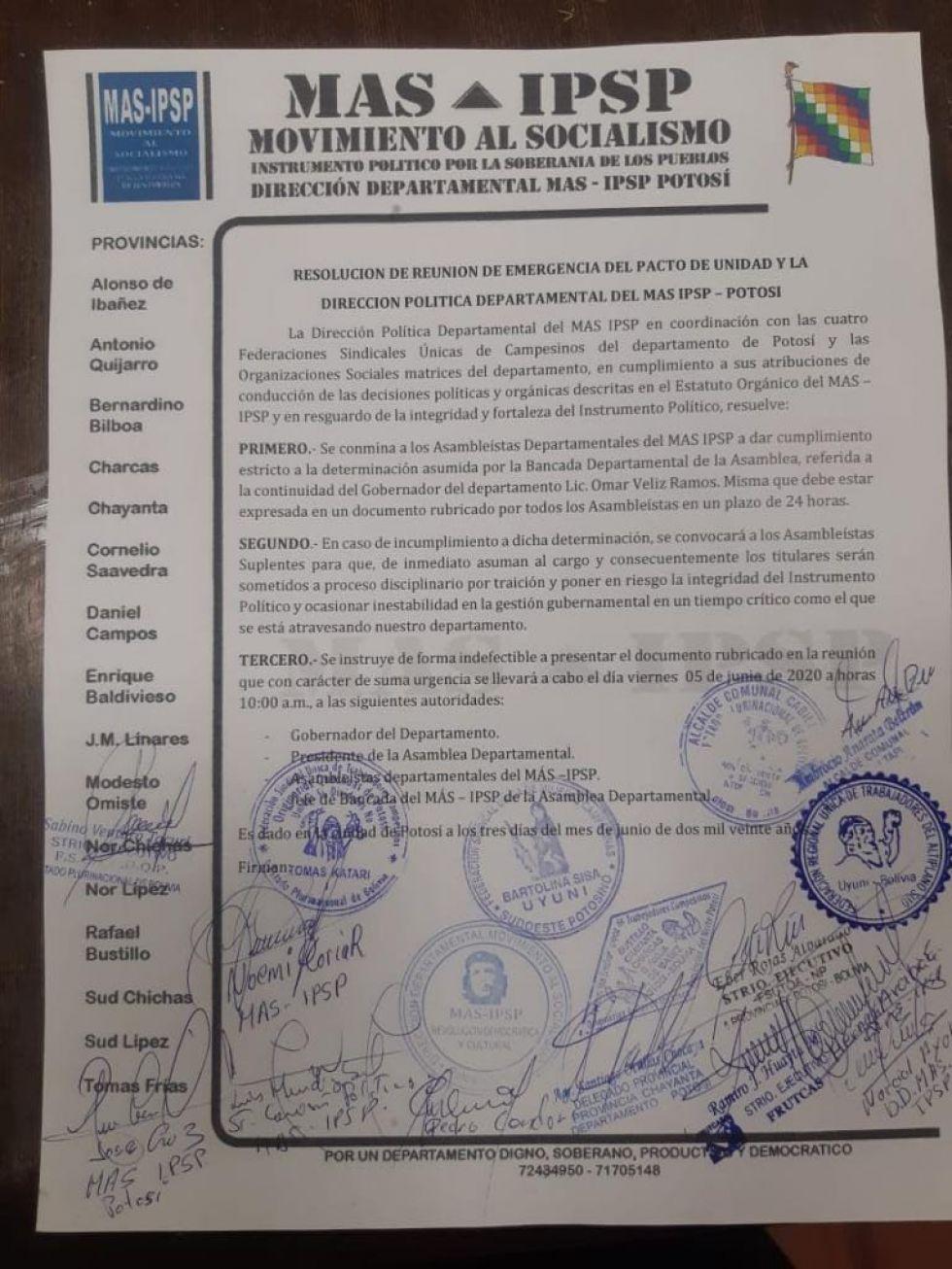 El documento del MAS.