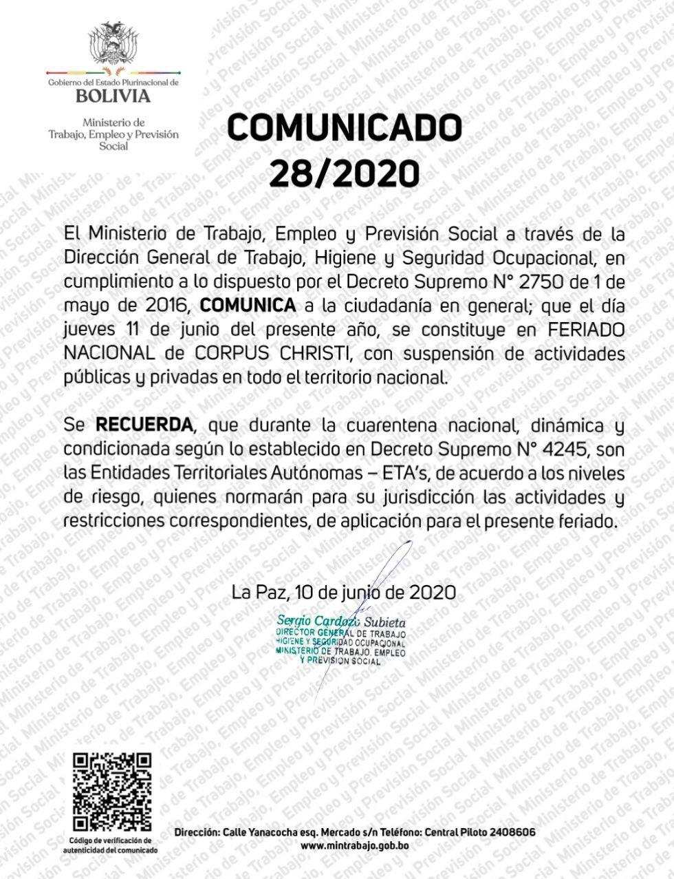 El comunicado del Ministerio de Trabajo.