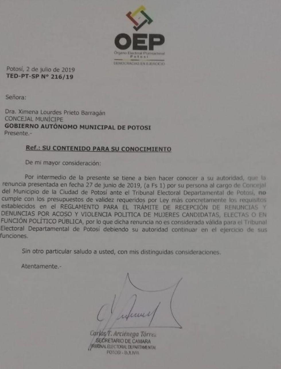 La carta enviada a Prieto.