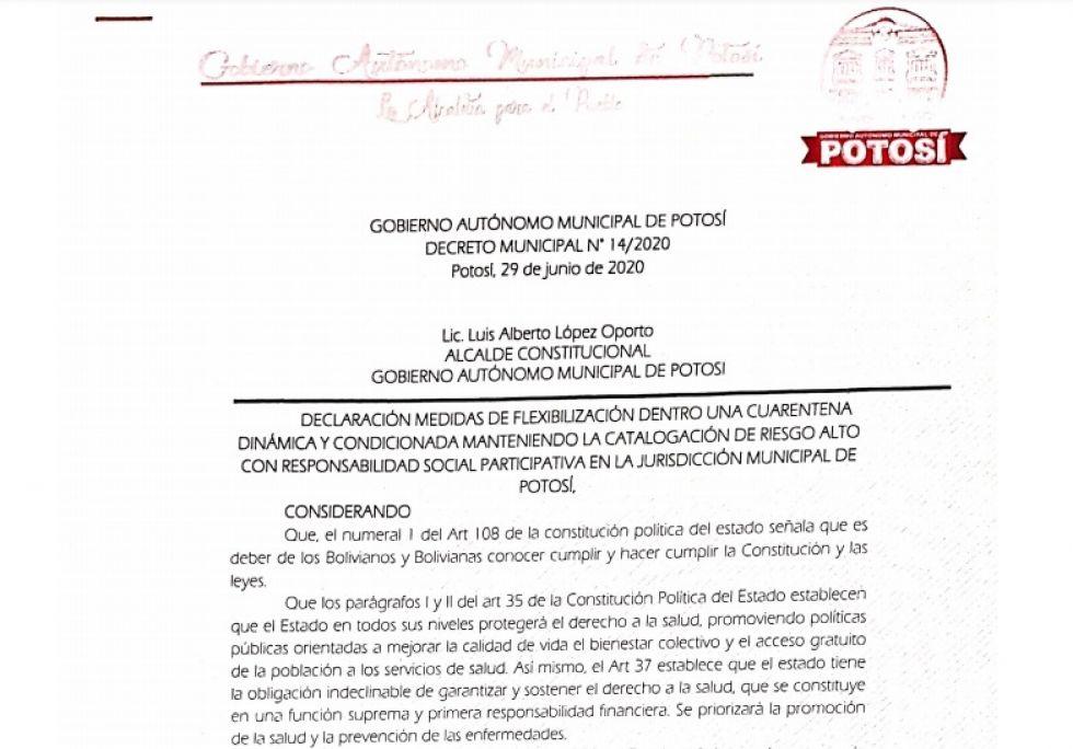 Lea el Decreto Municipal sobre la cuarentena dinámica en Potosí