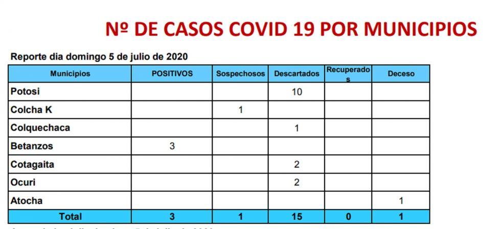 Reporte del Sedes Potosí