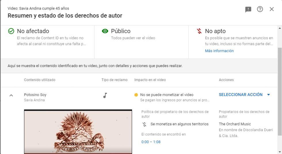 El mensaje automatizado de YouTube.