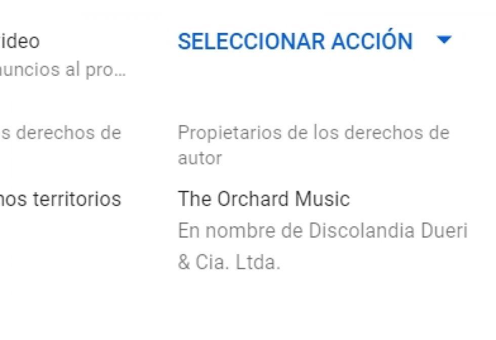 """Así sale el mensaje en YouTube: dice """"derechos de autor"""""""