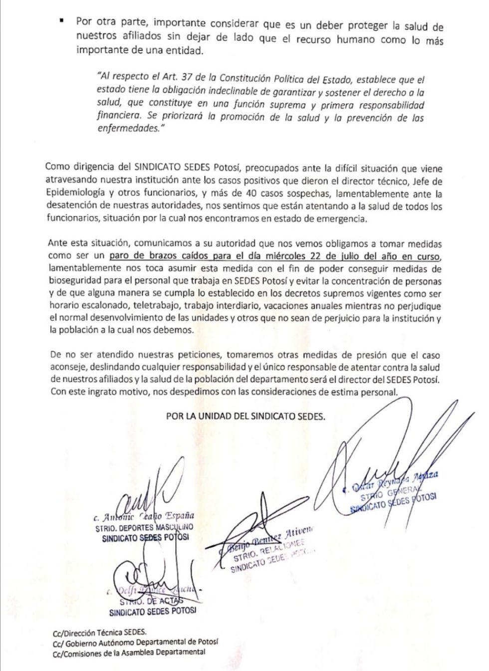 La nota del sindicato de trabajadores del Sedes.